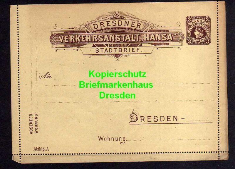 Privatpost Hansa Dresden Ganzsache Stadtbrief gelblich