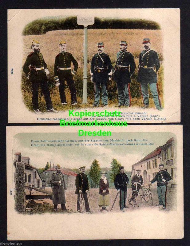 2 Ansichtskarte Deutsch Französische Grenze um 1900 Grenzer Soldaten Straße von Gave