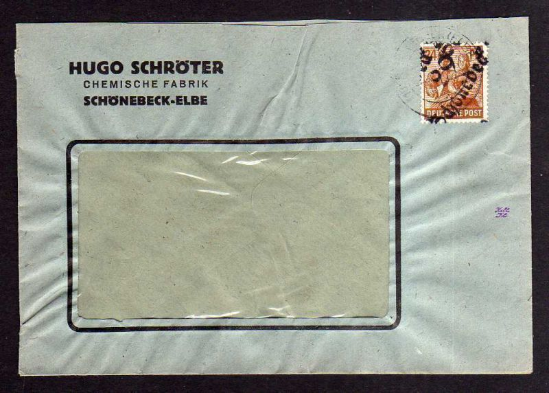 h878 Brief Handstempel Bezirk 29 Schönebeck 2.7.48 24 Pfennig Chemische Fabrik S