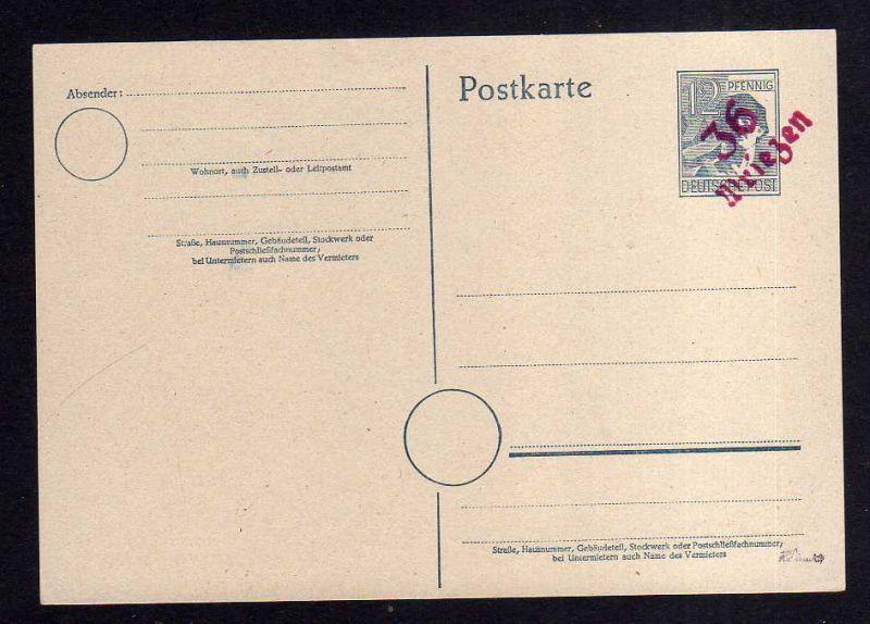 h995 Handstempel Bezirk 36 Wriezen rot 166a Ganzsache AS 12 Pfg. gepr. Dr. Modry