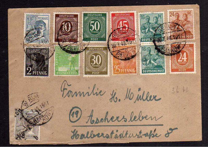 h1225 Brief Handstempel Bezirk 3 Berlin Pankow 30.7.48 Zehnfach Brief mit Handst