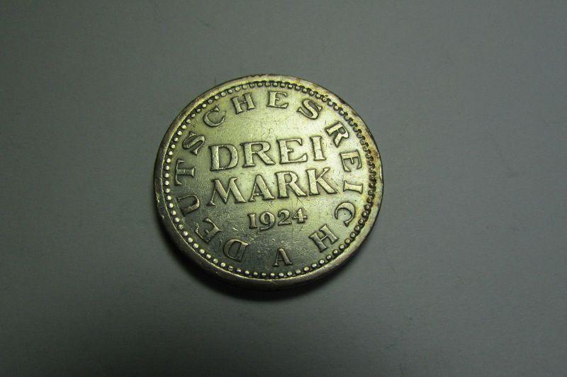 m037 Deutsches Reich Weimar 3 RM Reichsmark 1924 A Silber
