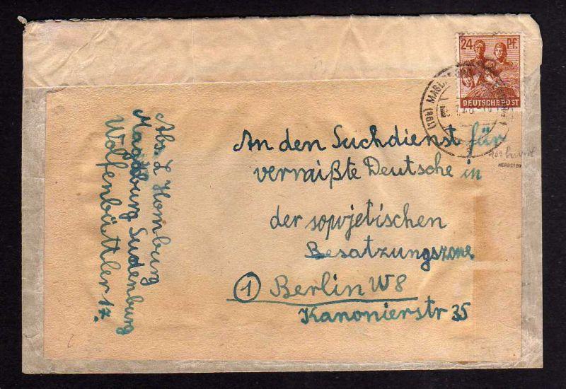 h855 Brief Handstempel Bezirk 20 Magdeburg 5 Ortsname abgedeckt 6.7.48 nach Berl
