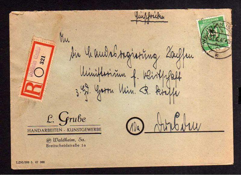 h1257 Brief Handstempel Bezirk 27 Waldheim Ziffer 84 Einschreiben Kresse Brief L