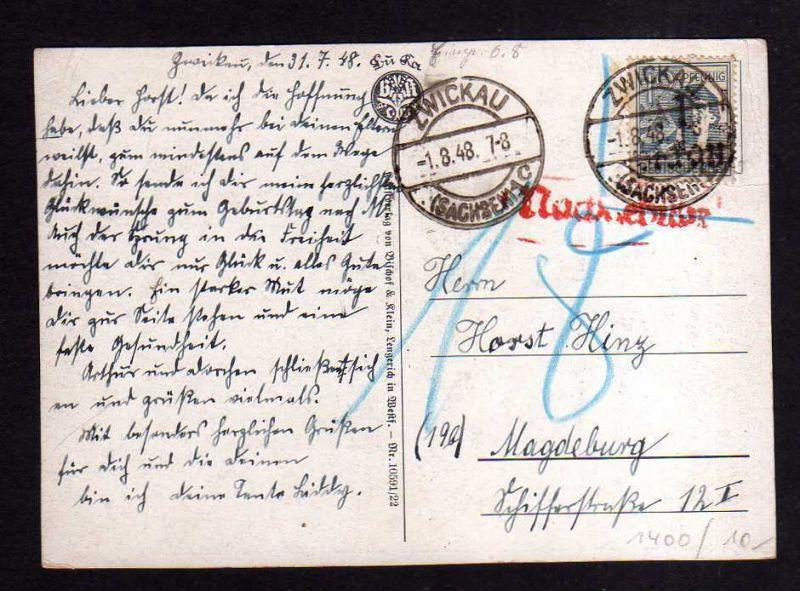 h1400 Handstempel Bezirk 41 Zwickau Postkarte Nachgebühr 1.8.48