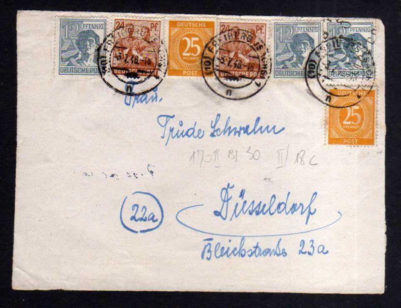 h1070 Briefvorderseite Handstempel Bezirk 14 Freiberg mit Zehnfach 3.7.48 gepr.