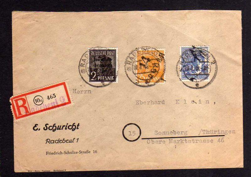 h1153 Brief Handstempel Bezirk 14 Dresden 25, 80 Pfg. 10.7.48 Einschreiben gepr.