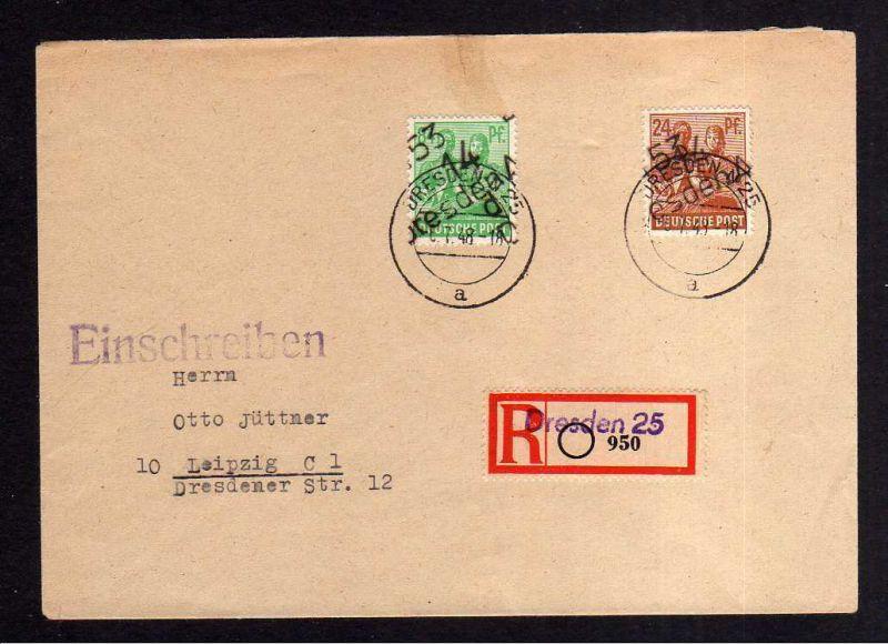 h1162 Brief Handstempel Bezirk 14 Dresden 24 84 Pfg 6.7.48 Einschreiben nach Lei
