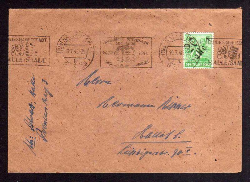 h1082 Brief Handstempel Bezirk 20 Halle 84 Pfg. Einschreiben 10.7.48