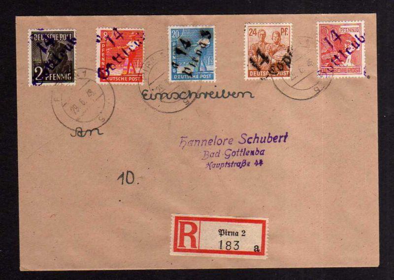 h1171 Brief Handstempel Bezirk 14 Gottleuba 29.6.48 Pirna Copitz Einschreiben 18