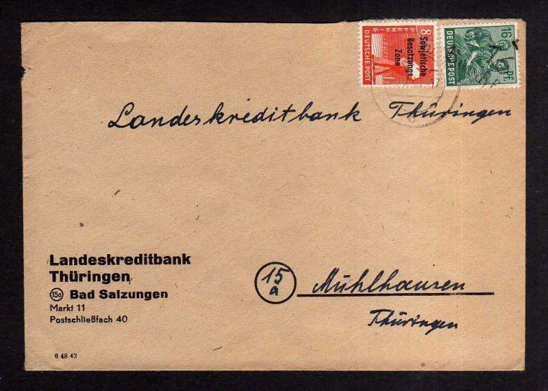 H1000 Brief Handstempel Bezirk 16 Barchfeld 6.7. Landeskreditbank Bad Salzungen