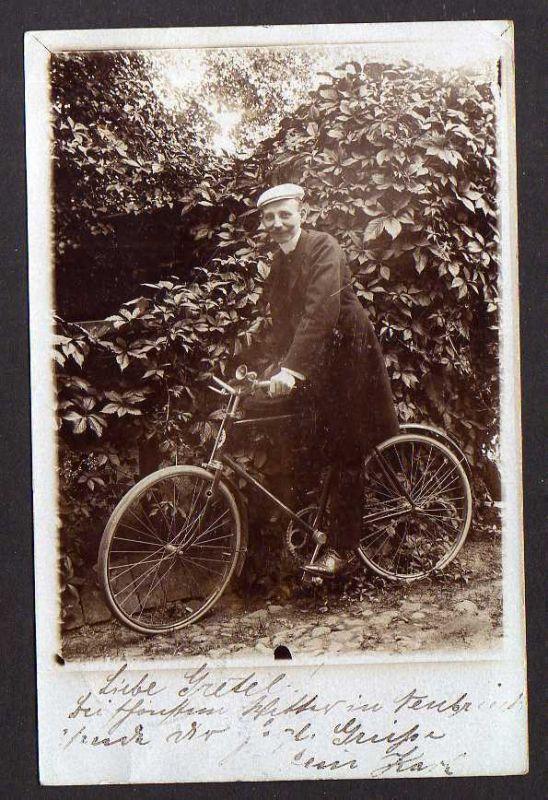 Ansichtskarte Fotokarte Fahrrad Grossschwülper 1906 All Heil