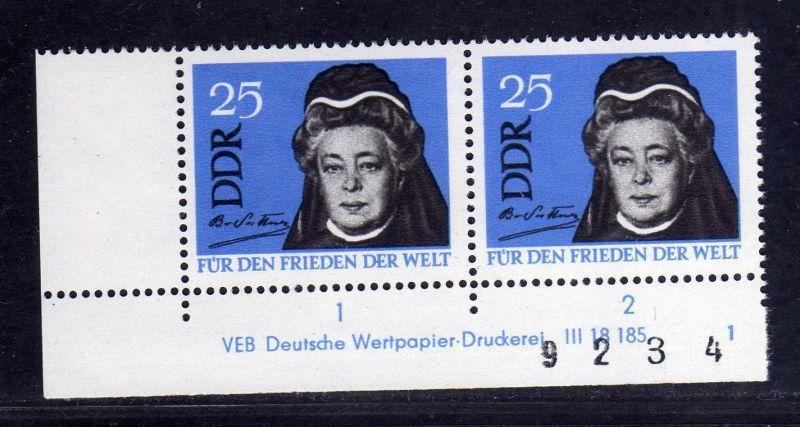 DDR 1964 1050 DV Druckvermerk FN 1 2 3 4 ** mit kompletter Bogenzählnummer B