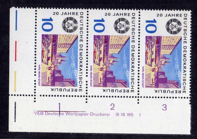 DDR 1969 1505 DV Druckvermerk FN I ** 20 Jahre DDR Chemnitz Karl-Marx-Stadt