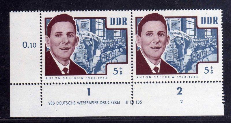 DDR 1964 1014 DV Druckvermerk 2 **  Antifaschisten Anton Saefkow