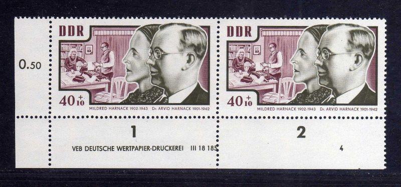 DDR 1964 1019 DV Druckvermerk FN 4 **  Antifaschisten Mildred  Arvid Harnack