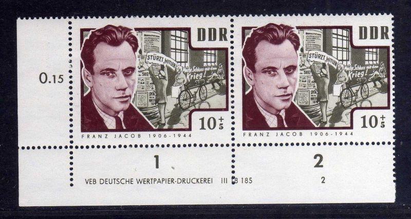 DDR 1964 1015 DV Druckvermerk 2 **  Antifaschisten Franz Jacob