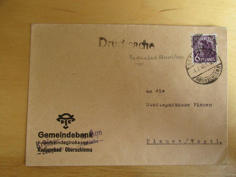 h1032 Brief Handstempel Bezirk 41 Radiumbad Oberschlema 6 Pfg. Drucksache Bedarf