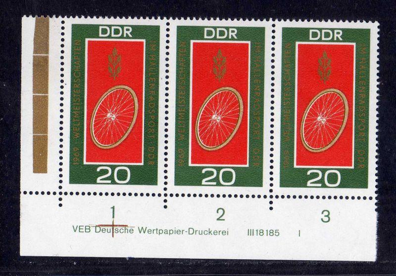DDR 1969 1492 DV Druckvermerk FN I ** Weltmeisterschaften im Hallenradsport