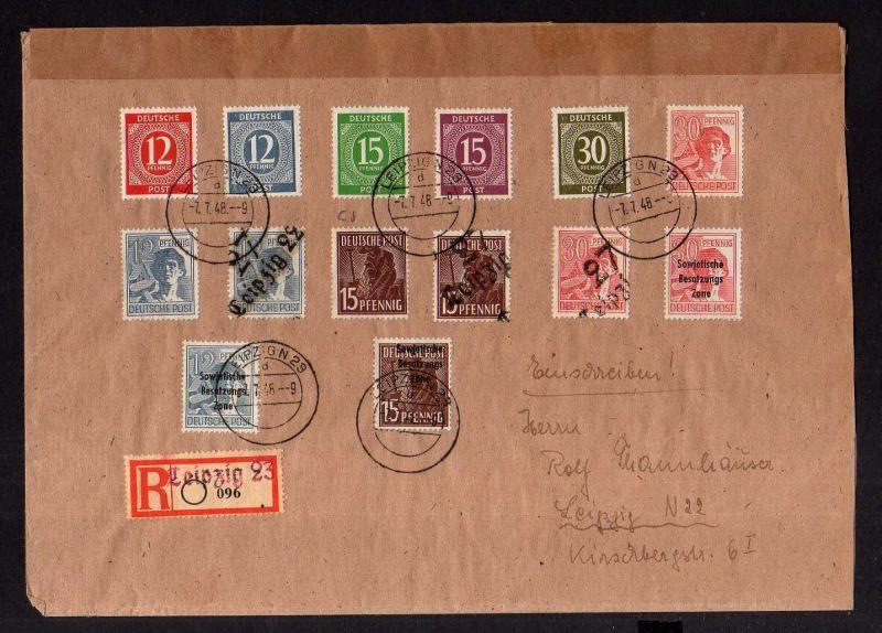 h1099 Brief Handstempel Bezirk 27 Leipzig 22 Einschreiben 096 7.7.48 mit Ankunft