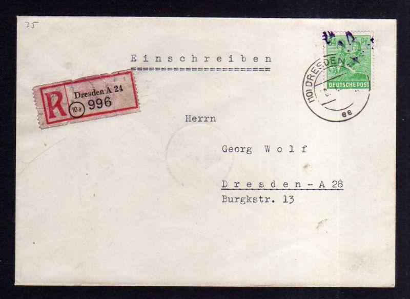 H1151 Brief Handstempel Bezirk 14 Dresden 24 violett 84 Pfg 30.6.48 Einschreiben