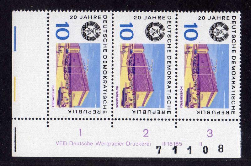 DDR 1969 1498 DV Druckvermerk FN II ** 20 Jahre DDR Eisenhüttenstadt + Boge