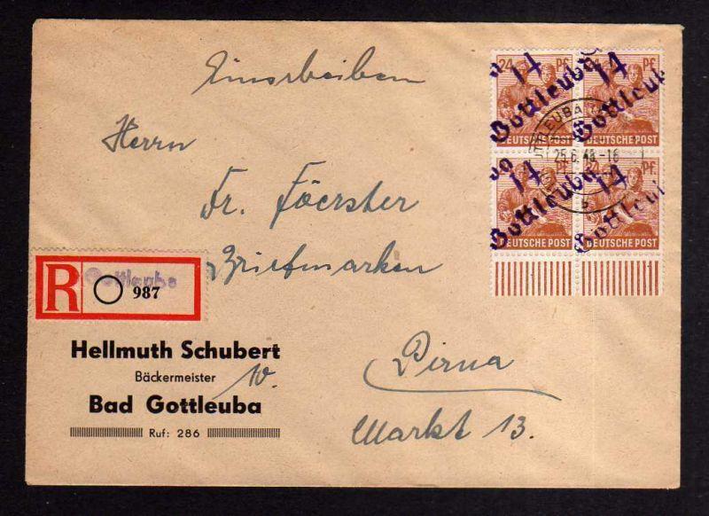 h1170 Brief Handstempel Bezirk 14 Gottleuba 25.6.48 24 Viererblock Einschreiben