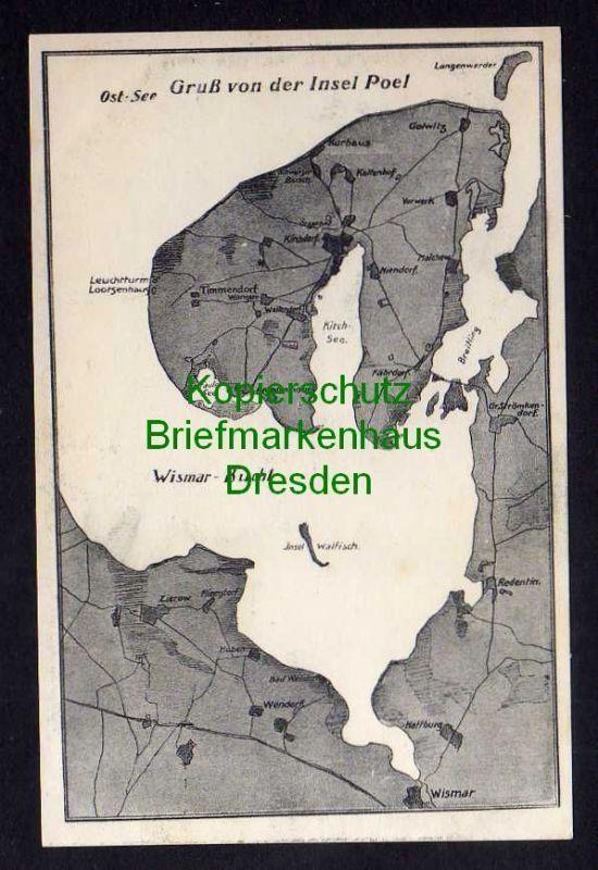 Karte Insel Poel Und Umgebung.Ansichtskarte Wismar Um 1910 Bucht Landkarten Ansichtskarte Insel Poel Kirchdorf Fahrdorf Golwi