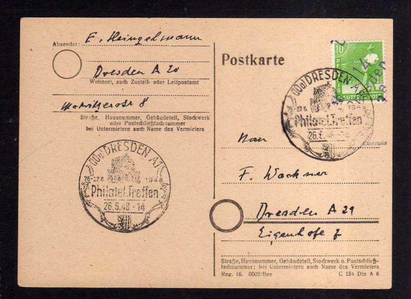 H1159 Postkarte Handstempel Bezirk 14 Dresden 26.6.48 SST Philatelisten Treffen