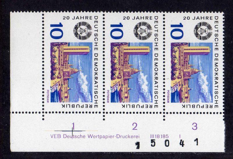 DDR 1969 1497 DV Druckvermerk FN I ** 20 Jahre DDR Potsdam + Bogenzählnumme