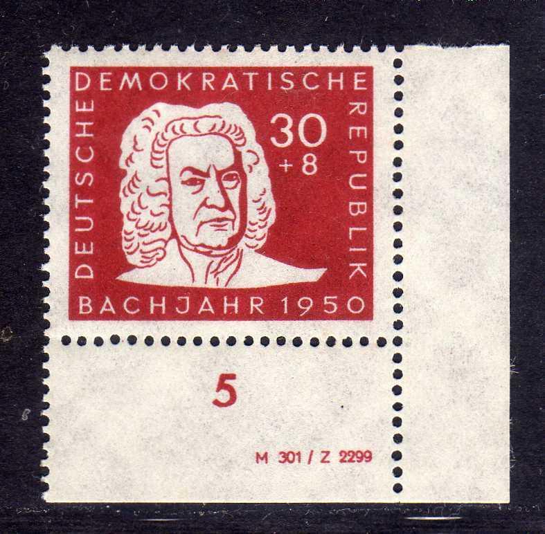 DDR 1950 258 * DV Druckvermerk Johann Sebastian Bach 30 + 8 Pfg.