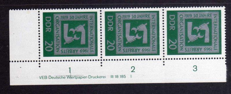 DDR 1969 1517 DV Druckvermerk FN I **  50 Jahre Internationale Arbeitsorgan