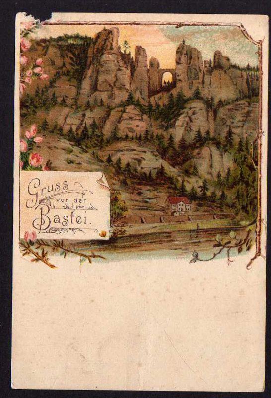 Ansichtskarte Sächsische Schweiz Bastei ca. 1895