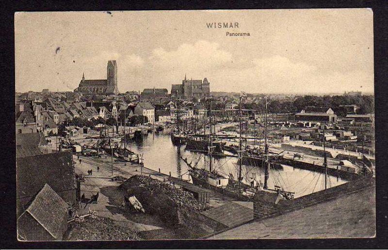 Ansichtskarte Wismar 1912 Panorama Hafen Bahnanlagen Gleise Lagerhaus