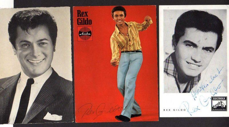 2x Autogrammkarte Rex Gildo Electrola Ariola + Karte Toni Curtis