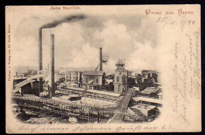 Ansichtskarte Herne Zeche Shamrock 1899 Bergbau