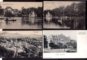 7 Ansichtskarte Franzensbad Kurgaren Quelle Hotel Holzer Stadtteich Ruderboote