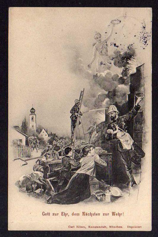 Ansichtskarte Solingen Feuerwehr 1913 Gott zur Ehr, dem Nächsten zur Wehr !