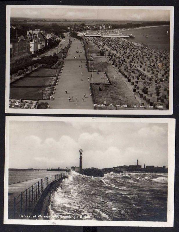 2 Ansichtskarte Warnemünde 1927 Blick vom Leuchtturm 1935 Brandung an der Mole