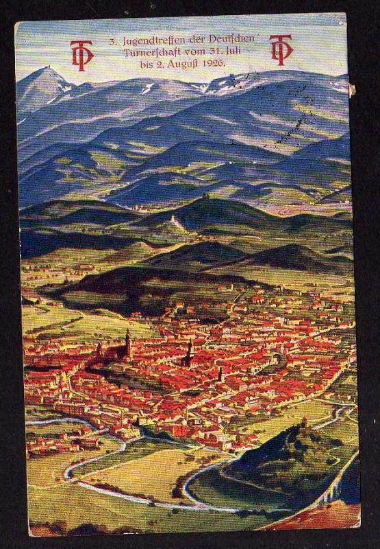 Ansichtskarte Turn und Sportfeste Hirschberg Schlesien 1926 Jugendtreffen Dt. Turners