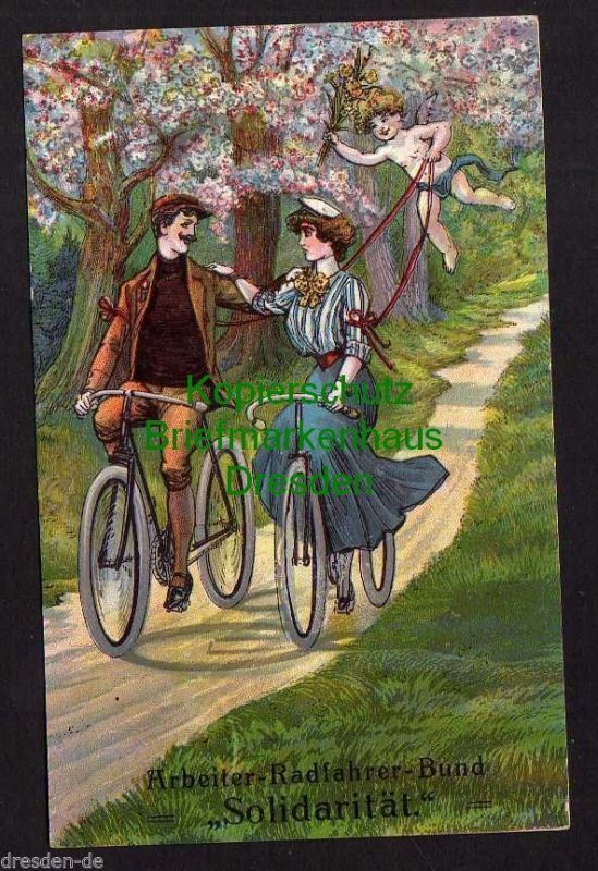 Ansichtskarte Arbeiter Radfahrer Bund Solidarität um 1910 Fahrad