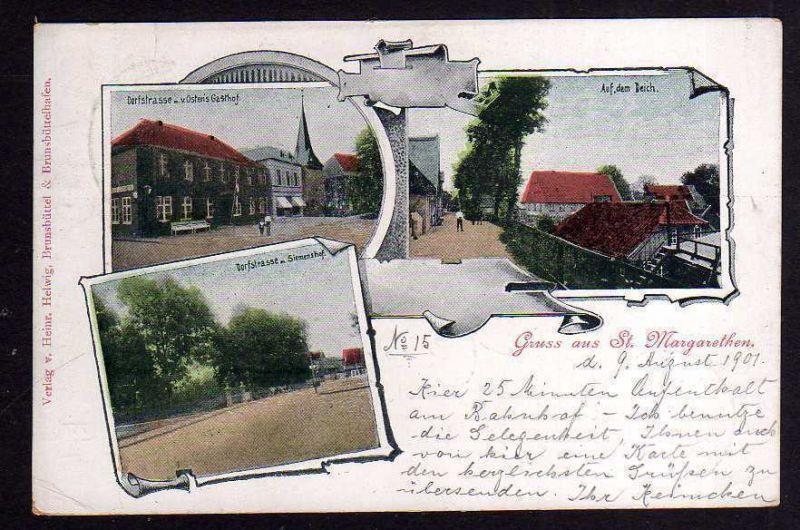 Ansichtskarte Sankt Margarethen Holstein 1901 Ostens Gasthof Siemenshof Auf dem Deich