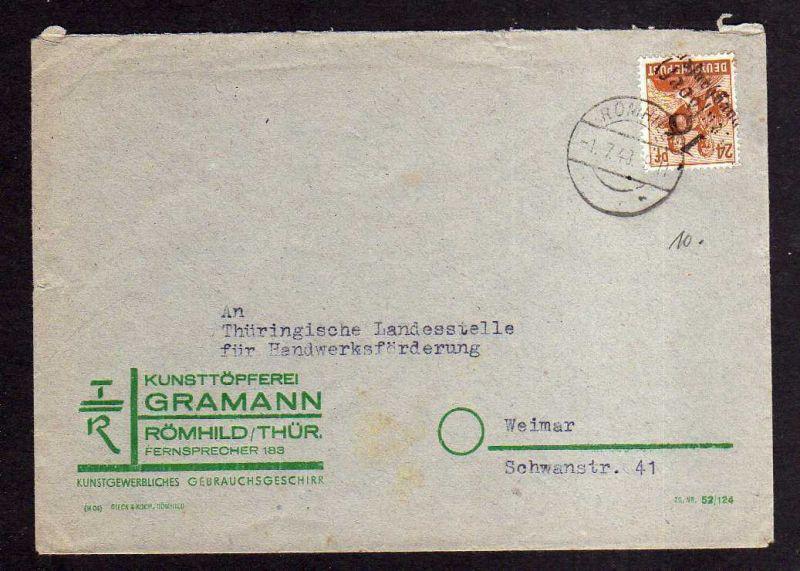 h609 Brief Handstempel Bezirk 16 Streufdorf 1.7.48 Römhild gepr. BPP Töpferei