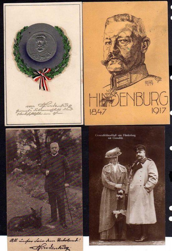 4 Ansichtskarte Hindenburg 1917 1925 mit Gemalin geprägt