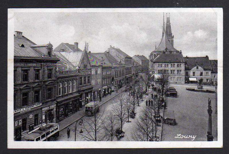 Ansichtskarte Louny Markt 1940 Feldpost Deutsche Dienstpost Böhmen Mähren