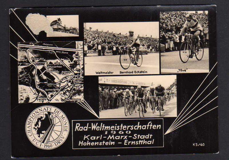 Ansichtskarte Rad Fahrrad Radsport 1960 Weltmeisterschaft Karl-Marx-Stadt DRSV Täve