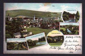 Ansichtskarte Arzberg Oberfranken 1903 Röslautal Eisenfels Brücke
