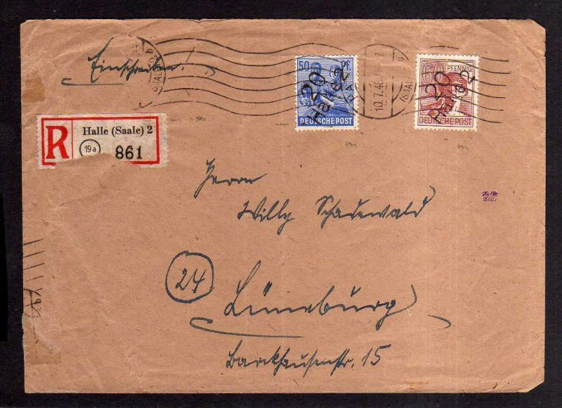 h1843 Handstempel Bezirk 20 Halle Brief Einschreiben 10.7.48 nach Lüneburg Aufbr