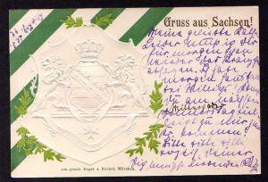 Ansichtskarte Leipzig 1899 farblos geprägte Wappen Karte + grüne Streifen Sachsen