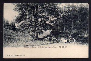 Ansichtskarte Fahrrad All Heil um 1900 nach getaner Arbeit ist gut ruhen ! Humor